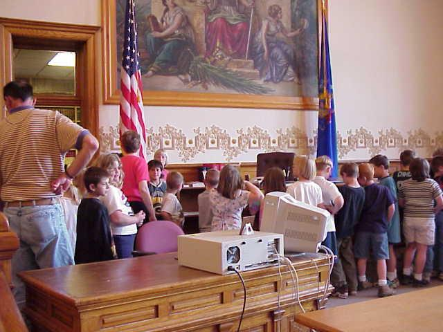 The 2nd graders touring the courtroom